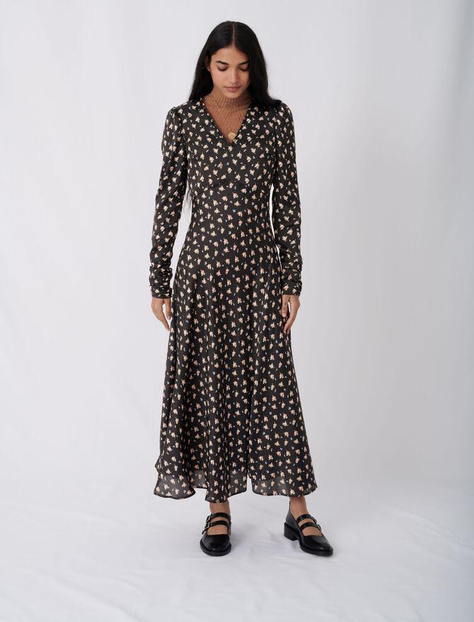 Satin floral print dress - Ready to wear - MAJE