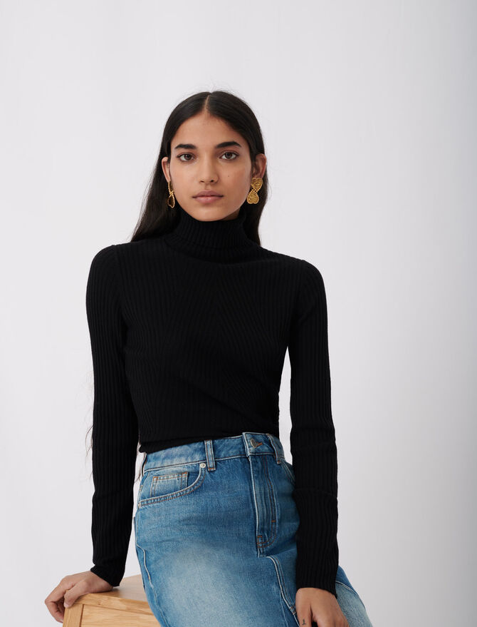 Fine ribbed sweater, stand-up collar - Warm up - MAJE