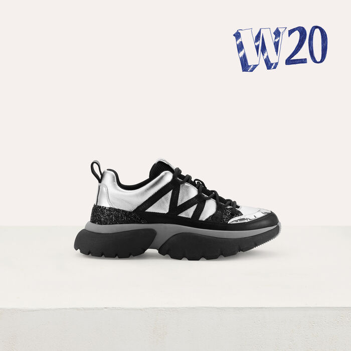 W20 Urban leather sneakers : Sneakers color Silver