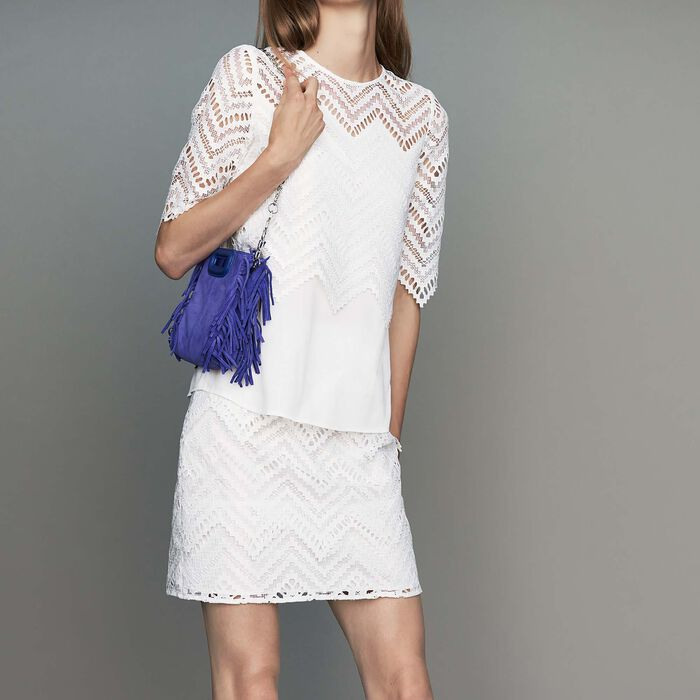Top in crepe and lace : New Collection color White