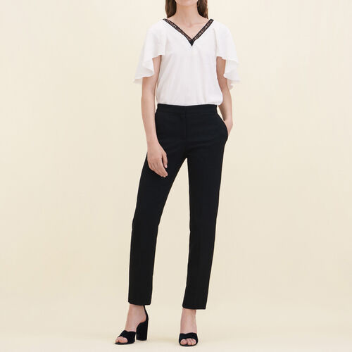 Straight-cut crêpe trousers : Trousers & Jeans color Black 210