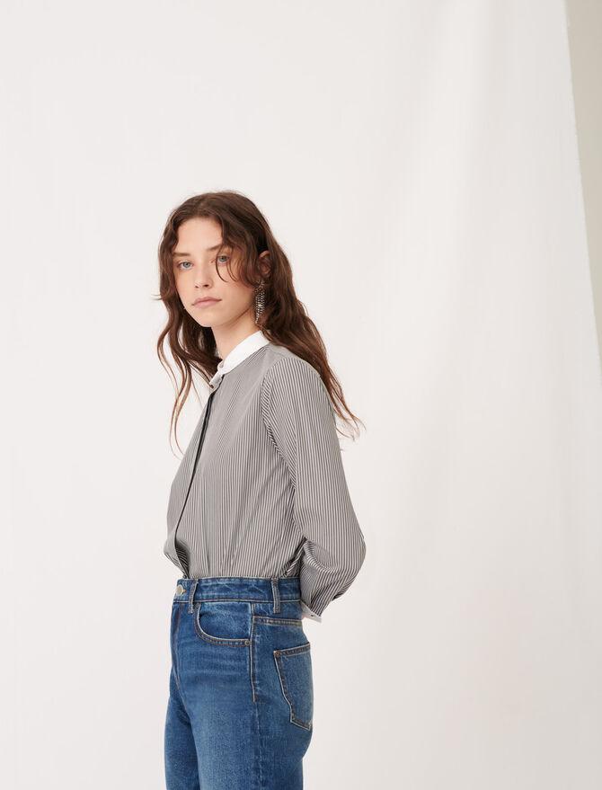 Striped poplin shirt with plain details - tout voir - MAJE