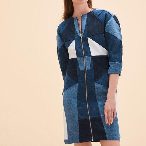 Patchwork denim dress : Dresses color Blue