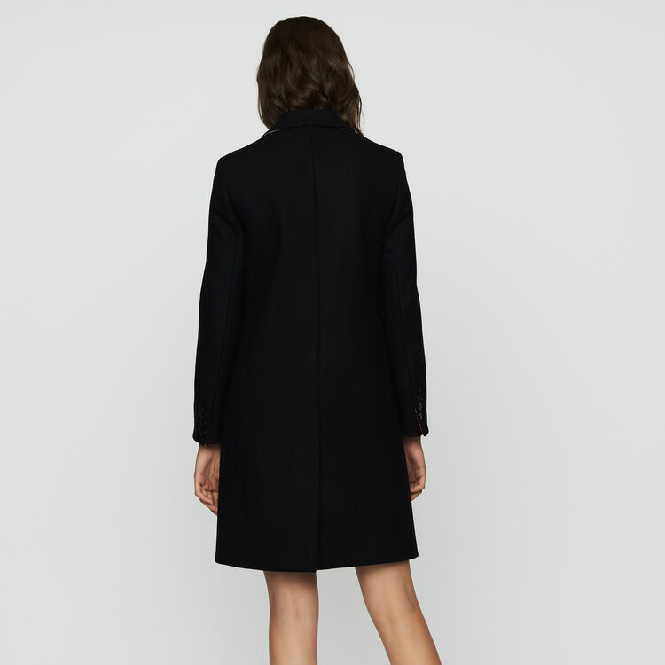 Straight coat in virgin wool : Ready to wear color Black 210