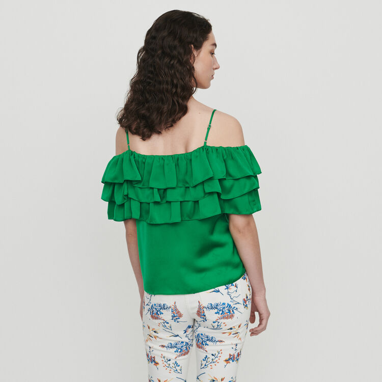 Strappy top with ruffles : Tops & Shirts color Mandarine