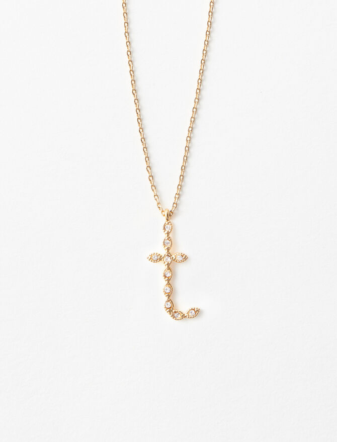 Rhinestone T necklace -  - MAJE