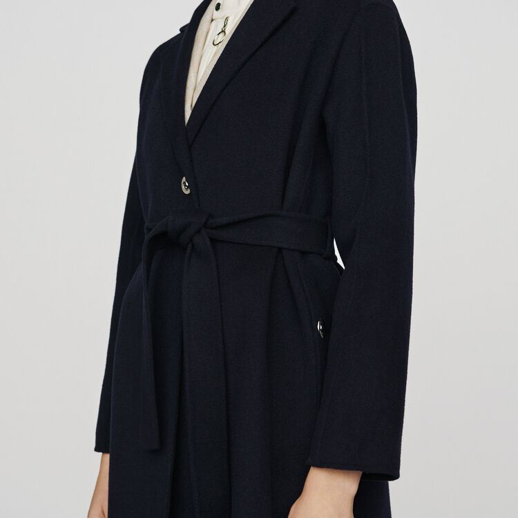 Double-face wool coat with belt : Coats color Navy