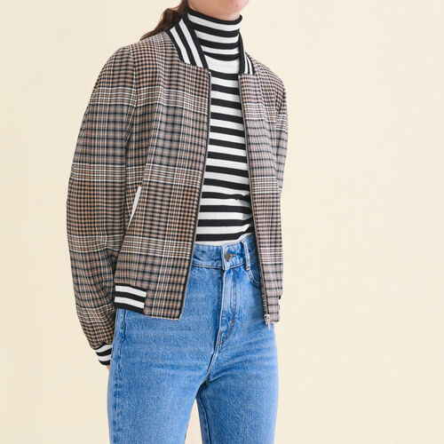 Teddy-style checked jacket : Jackets color Jacquard