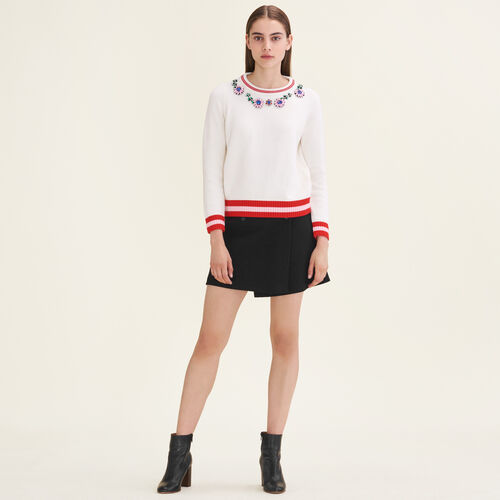 Jumper with decorative jewellery : Sweaters & Cardigans color Ecru