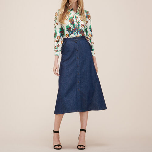 Denim midi skirt : Skirts & Shorts color Blue
