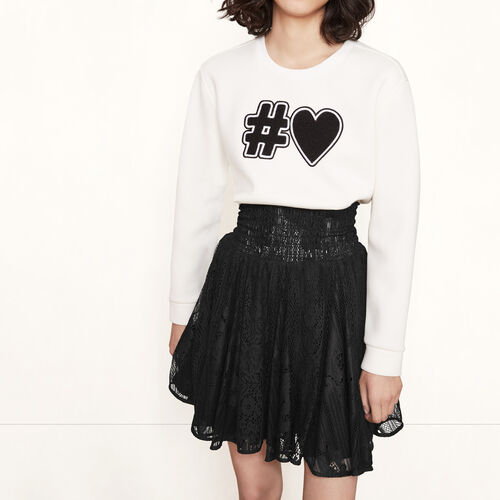 Short lace skirt with smocking : Skirts & Shorts color Black 210