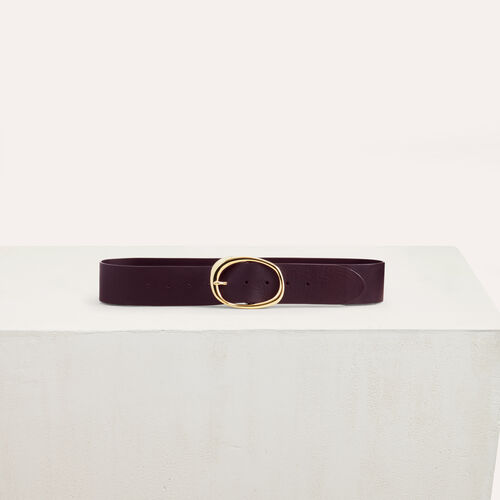 Wide leather belt : Accessories color Burgundy