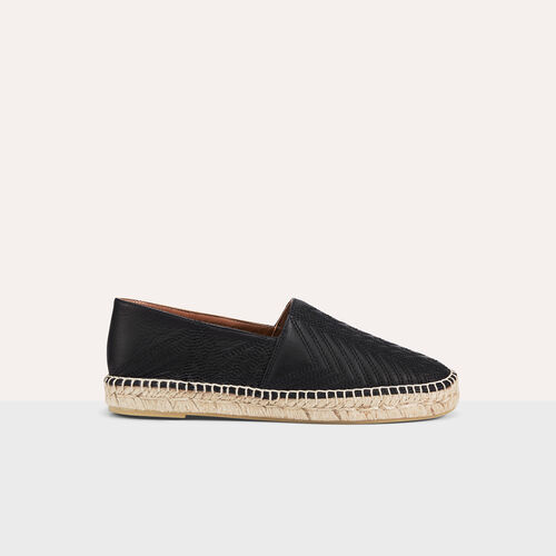 Leather espadrilles with embroidery : Shoes color Black 210