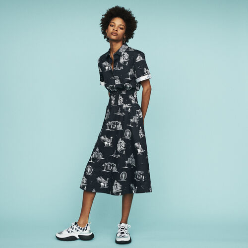 Midi Paris-print dress : Dresses color Black 210