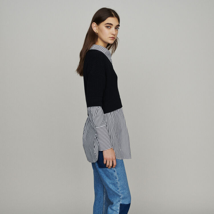 Trompe-l'œil effect cropped sweater : Knitwear color Black 210