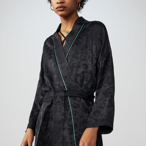 Long kimono-style jacquard jacket : Blazers color Black 210