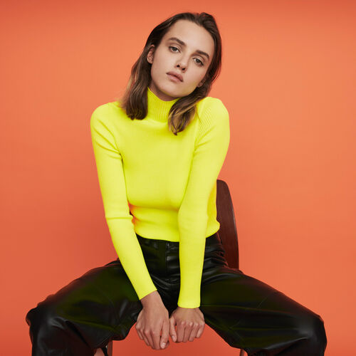 Light ribbed turtleneck sweater : Knitwear color Florescent Yellow