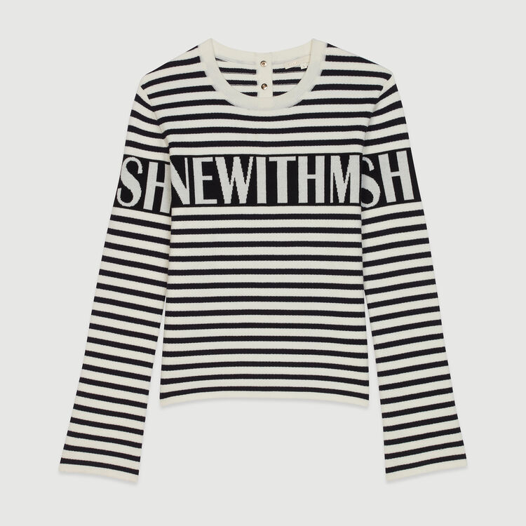 Striped sailor sweater : Knitwear color Ecru