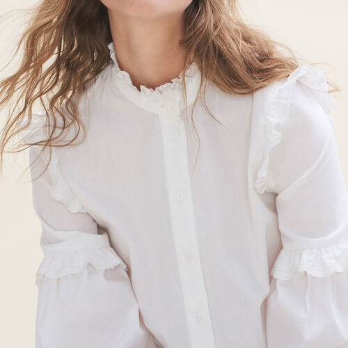 Poplin shirt with frills : Shirts color Blue