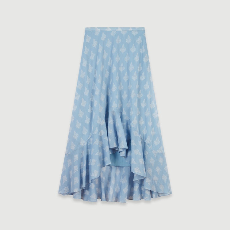 Long printed ruffle skirt : Skirts & Shorts color Blue