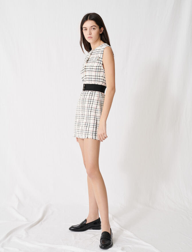 Belted tweed mini dress - Dresses - MAJE