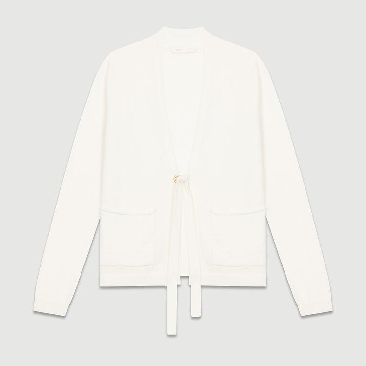 Fine-knit wool and cashmere vest : Knitwear color Ecru