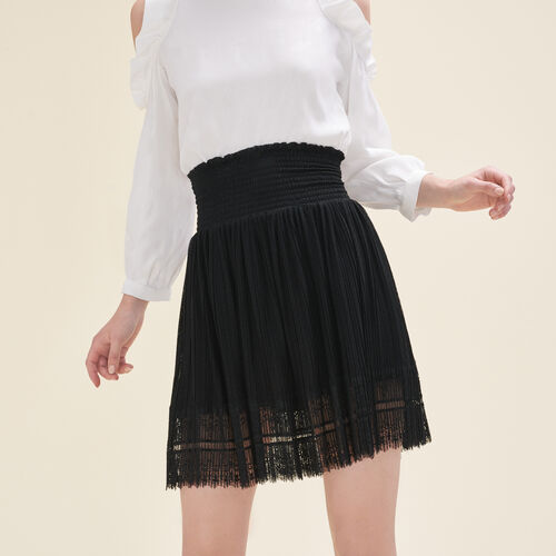 Pleated skirt with dotted Swiss and lace - Skirts & Shorts - MAJE