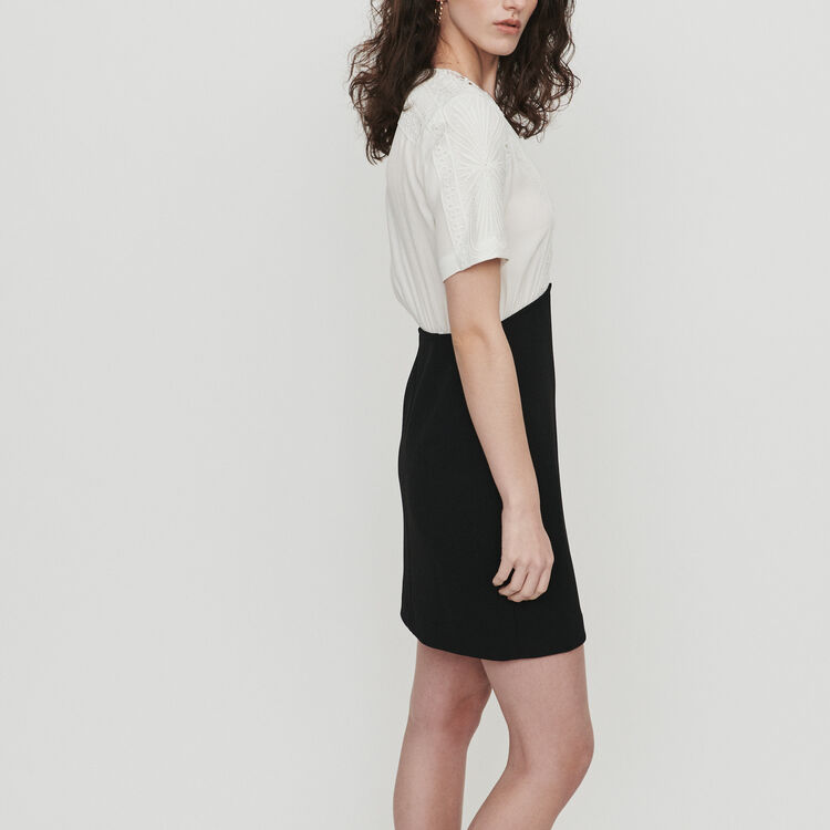 Bimaterial dress with guipure : Dresses color Off White