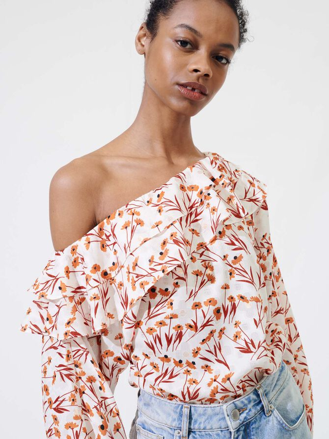 Floral top with drop shoulders -  - MAJE