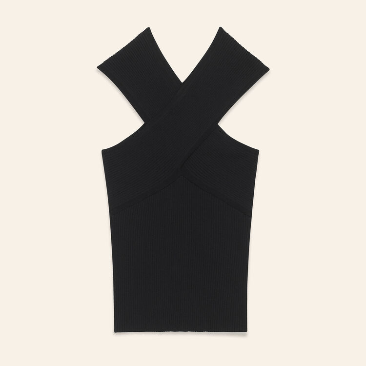 Ribbed knit sleeveless top : Sweaters & Cardigans color Black 210