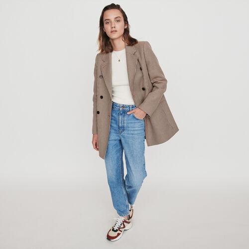 Plaid jacket-like coat : Coats & Jackets color Camel