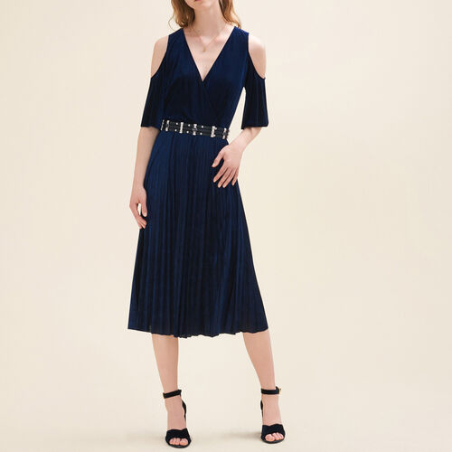 Pleated off-the-shoulder dress : Dresses color Night