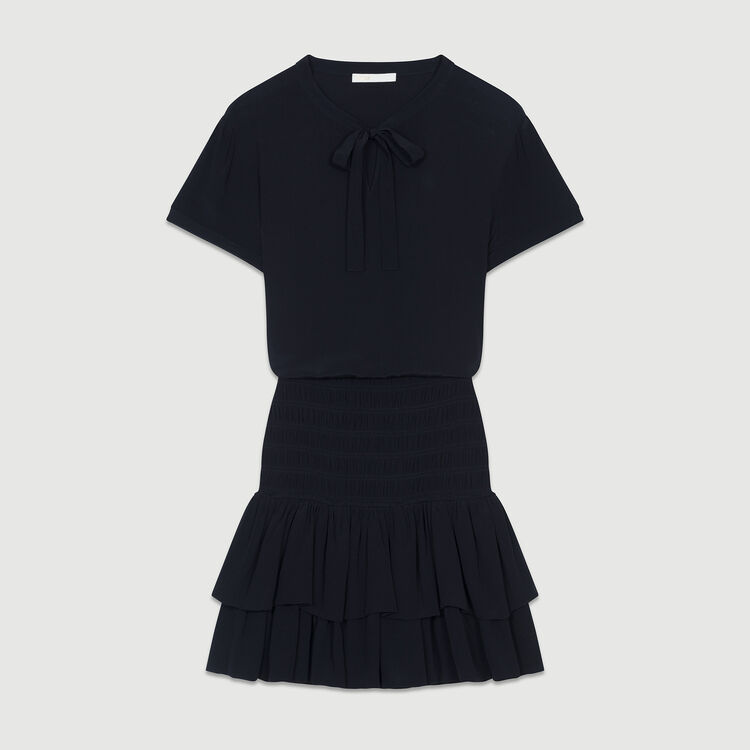 Smocked flounce dress : Dresses color Black 210