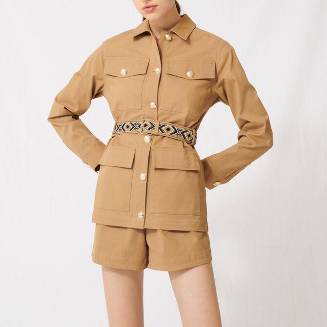 Camel coat with embroidered belt -  - MAJE