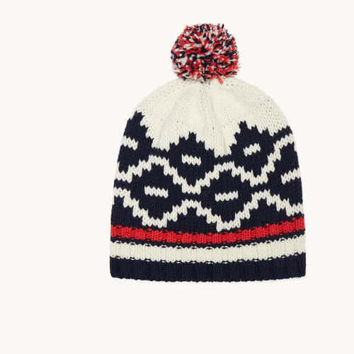 Jacquard knit beanie with pompom : Accessories color Jacquard