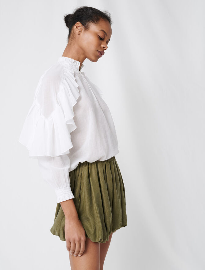 Cool cotton blouse with ruffles - Tops & Shirts - MAJE