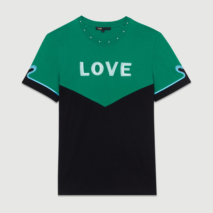 Bicolor cotton embroidered T-shirt : New Collection color Multico