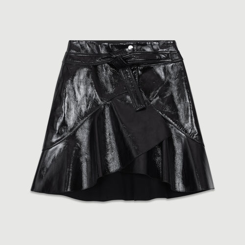 Asymmetric skirt in patent leather : Skirts & Shorts color Black 210
