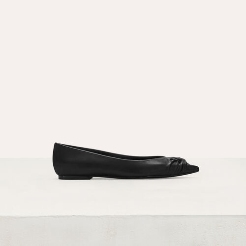 Flat leather pumps : Flat shoes color Black 210