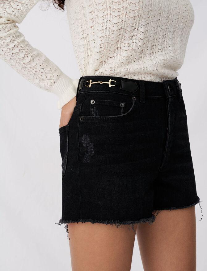 Denim shorts with horsebit details - Eco-friendly - MAJE