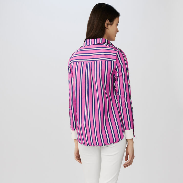 Striped cotton shirt with snaps : Shirts color Stripe