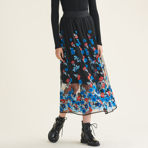 Long skirt with floral embroidery - Skirts & Shorts - MAJE