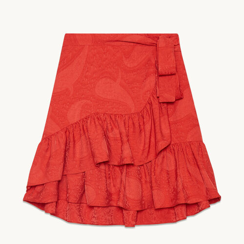 Wraparound skirt with frills - null - MAJE