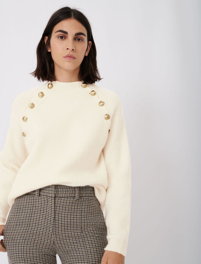 High neck ribbed sweater with buttons - Knitwear - MAJE