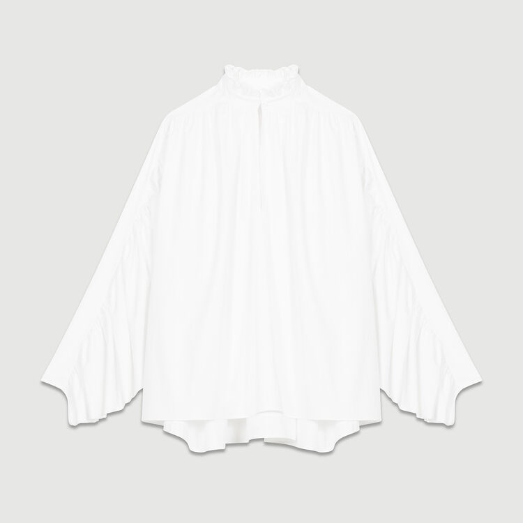 Oversized blouse with gathers : Tops color White