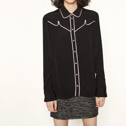 Shirt with piped details : Tops color Black 210