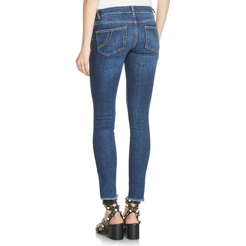 Slim jeans with fringe : Trousers & Jeans color Blue