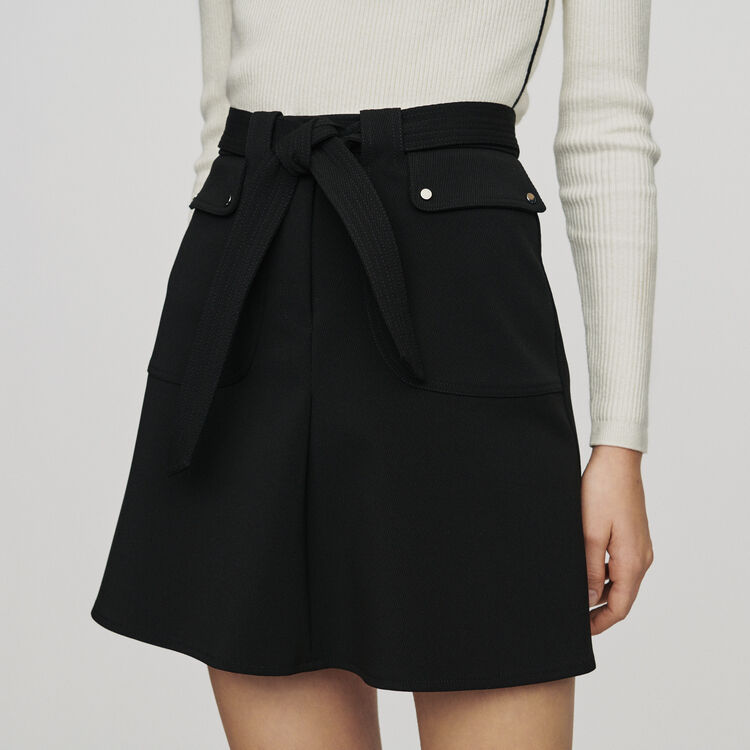 Skirt with tie belt : Skirts & Shorts color Black 210