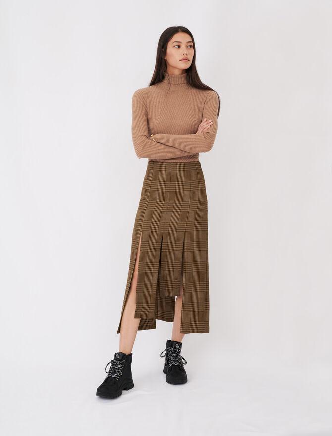 Asymmetric skirt with flaps and checks -  - MAJE