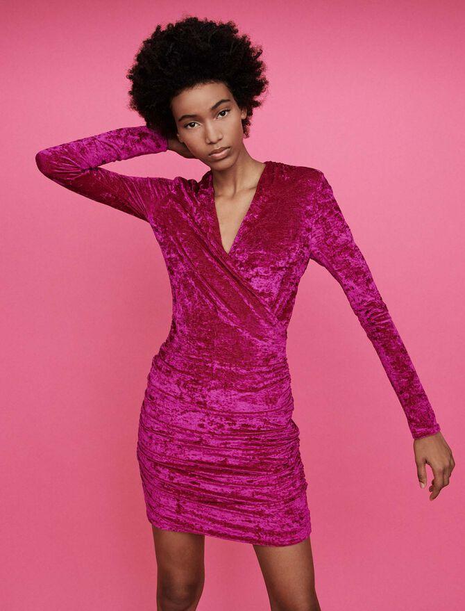 Crushed velvet draped dress -  - MAJE